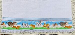 LARGE PLUSH MAINSTAY WHITE BATH TOWEL WITH ADDED DOG PRINT BORDER