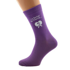 I'd Rather Be Playing Table Tennis with Bat Image Printed on Ladies Purple Socks