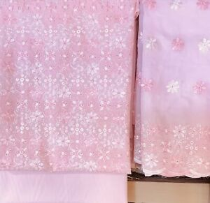 Baby Pink 3 piece Chikan embroidered cotton suit shawl  SP147-1 midtex