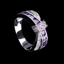Size 7# Purple cyrstal & CZ Criss Cross Ring Band silver plated Jewelry