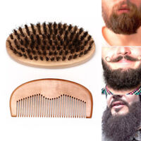 Beard Brush # Beard Comb Boar Bristle Comb Mens Mustache Care Grooming Kit To QA