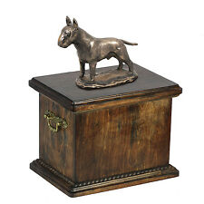 bois massif Casket Bull Terrier Mémorial Urn pour chien Ashes, avec chien statue