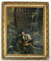 "ANTIQUE 19 c ""DEER HUNTER,DEER IN THE FOREST"" OIL PAINTING  ON CANVAS, SIGNED"