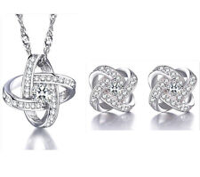 925 Solid Silver Crystal Star Pendant Necklace Earrings Stud Sets Women Jewelry