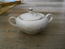 CASTLECOURT Fine China Wheat Spray Pattern Sugar Bowl W/Lid Platinum Rim Japan