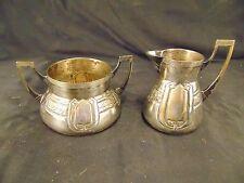 Silverplate creamer & sugar bowl OBE pressed on bottom Art Deco British Empire