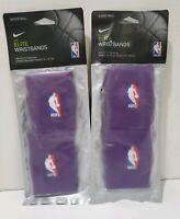 Lot of 2 NIKE Elite Purple Wristbands Dri-Fit Technology NBA Logo New In Package