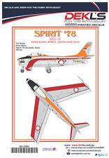 Decals Avon Sabre-TNI-AU Aerobatic Team 'Spirit 78' 1/72 Scale