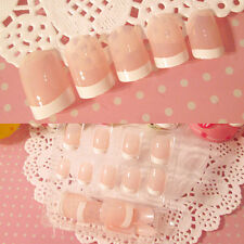 White French Nails 24 Pcs Classical Full Cover Short Oval False Nails5H1 zp