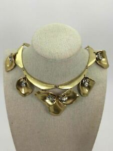 Stella & Dot Yellow Goldtone Crystal Accent Rigid Link Necklace