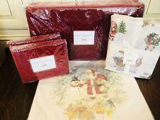 Pottery Barn Nostalgic Santa Queen Size Sheet Set Velvet Quilt Shams Christmas