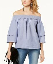 """""""INC"""" BLUE & WHITE STRIPED DOUBLE LAYER SLEEVE  OFF SHOULDER TOP SZE: XL NWT $70"""