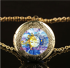 Sun and Moon Face Photo Glass Gold Plating Chain Locket Pendant Necklace