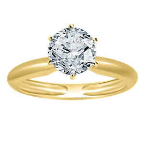 1 Ct 6 Prong Solitaire D VVS1 Engagement Ring 14K Yellow Gold Over Jewelry Gift