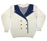 Vintage Nautical Sailor Women's Sweater Editn Larson Women's M 80s Vtg Ivory