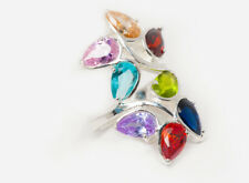Multicolour floral Teardrop Zirconia ring, solid 925 Sterling Silver 51.3mm L1/4