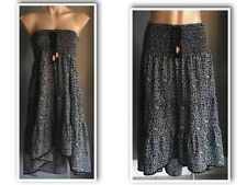 Pre-owned Black & White VOLCOM Shirred Maxi Skirt Size 8 - Also wear as a Dress