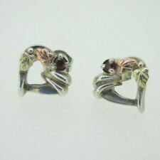 Sterling Silver & Black Hills Gold Garnet Heart Coleman Co Earrings