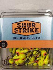 Shur Strike Jig Heads 1/8 oz Chartreuse 25 Value pack Bronze Hook Bass, Wally