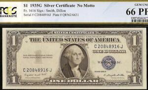 GEM 1935 G $1 DOLLAR BILL SILVER CERTIFICATE NOTE PAPER MONEY PCGS 66 PPQ