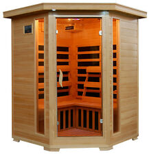 FAR Infrared IR Sauna Room Corner Unit HeatWave Santa Fe 3 Person Carbon Heaters