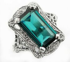10CT London Blue Topaz 925 Sterling Silver Nouveau Style Ring Jewelry Sz 6, FL6