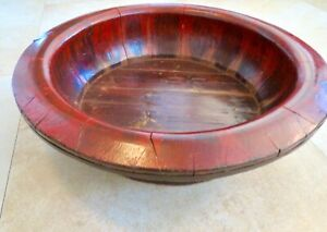 """Beautiful Antique Extra Large Sized CHINESE RED LACQUER WOODEN BOWL 22"""" Wide 7""""H"""
