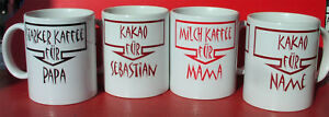 Kaffeetassen Familien - Sortiment 4 Tassen mit den Kindernamen