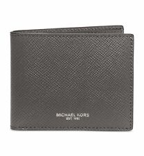 $215 Michael Kors Men'S Gray Leather Double Billfold 6cc Card Wallet *Damaged*