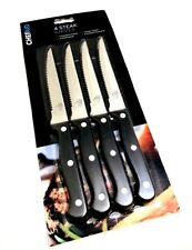 NEW Chef Aid set of 4 Traditional Steak tools Stainless Steel Cutlery Black