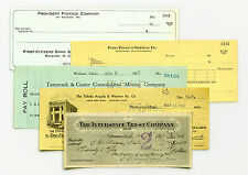 5 diff. states USA bank checks etc. most 1900's-1950's nice used & unused