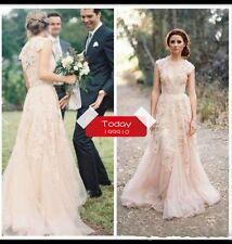 New Lace Wedding Dress Sheer Beach Bridal Gown Custom Size 2 4 6 8 10 12 14 16++