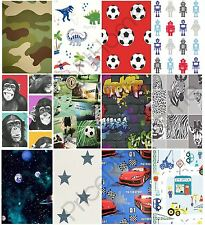 BOYS BEDROOM WALLPAPER - KIDS TEENS SPACE CAMO FOOTBALL DINOSAUR CAR