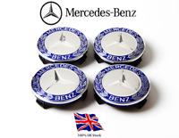 4x Blue Mercedes Benz Alloy Wheel Centre Caps 75mm Badges Hub Emblem - Fits All