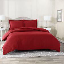 Duvet Cover Set Soft Brushed Comforter Cover W/Pillow Sham, Burgundy - Full