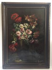 "Beautiful Vintage Antique Italian Still Life with  Flowers Oil On Canvas 42""x30"""