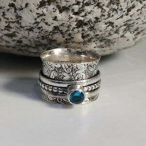 Blue Topaz Spinner Ring 925 Sterling Silver Plated Handmade Ring Size 7.25 at38