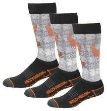 Harley-Davidson Men's Cushioned Performance Wool Riding Socks, 3 Pairs - Gray