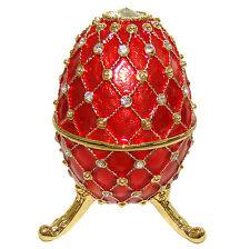 Oeuf-boîte à musique émail rouge perlé orné de strass Inspiration Oeuf K Faberge