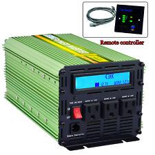 Car Power Inverter 2000W 4000 Watt 12V dc to 110V 120V ac LCD Cables remote RV