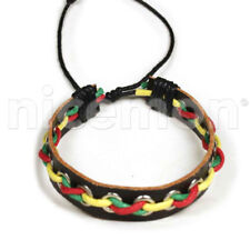 Rasta Black Leather Bracelet Wrist Band Hippie Hawaii Dub Ras Reggae Marley RGY