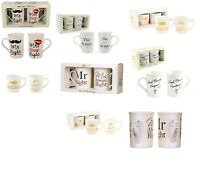Set of 2 Mr & Mrs Always Right Hot Cool Mugs Engagement Wedding Present Keepsake