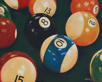 Billiard Pool Balls by pollard 13x16 signed art print game room man cave