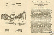 1898 US PATENT LOOP ROLLERCOASTER  Print READY TO FRAME!!!! Roller Coaster
