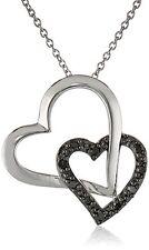 "Sterling Silver 1/10 cttw Black Diamond Double Hearts Pendant Necklace, 18"" $150"