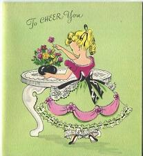 VINTAGE BLONDE VICTORIAN GIRL PONYTAIL PANTALOONS GARDEN FLOWERS GREETING CARD