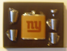 NEW YORK GIANTS 6 OZ LEATHER ENGRAVED STAINLESS STEEL FLASK WITH 4 SHOT GLASSES