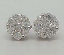 14k White Gold Diamond Flower Cluster Screw Back Stud Earrings