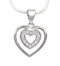 Collier Herz 925 Sterling Silber 14 Zirkonia 45cm Silberkette Halskette Damen