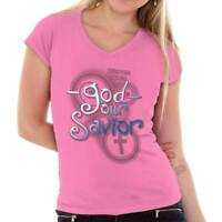 God Our Savior Christian T Shirts Jesus Christ Cross Gift Idea Junior V-Neck Tee
